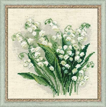 вышивка цветов подснежники