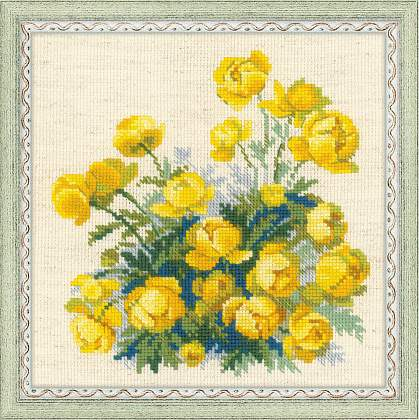 вышивка цветов купавки