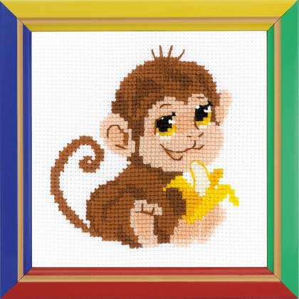набор для вышивания крестом обезьянка