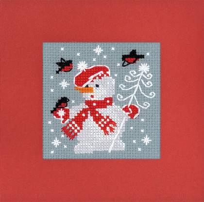 новогодняя вышитая открытка Снеговик