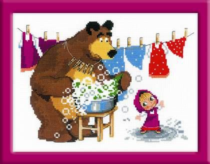 набор для вышивания крестом маша и медведь