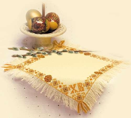 пасхальное украшение вышитая салфетка Христос Воскресе