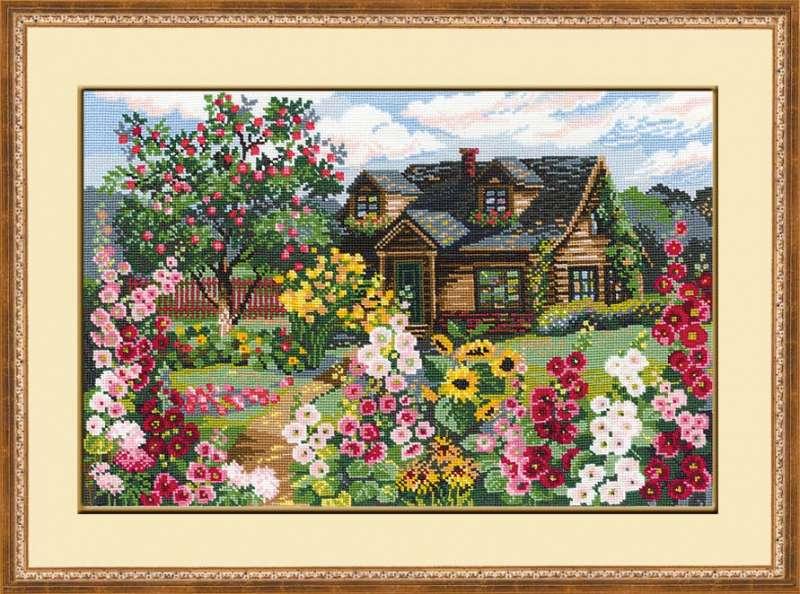 вышивка пейзажей Цветущий сад