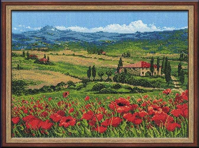 Вышивка пейзажей Тоскана
