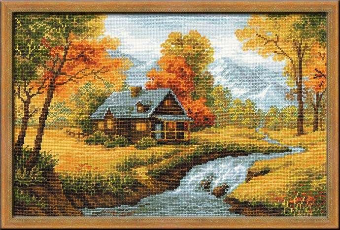 вышивка шерстью осеннего пейзажа