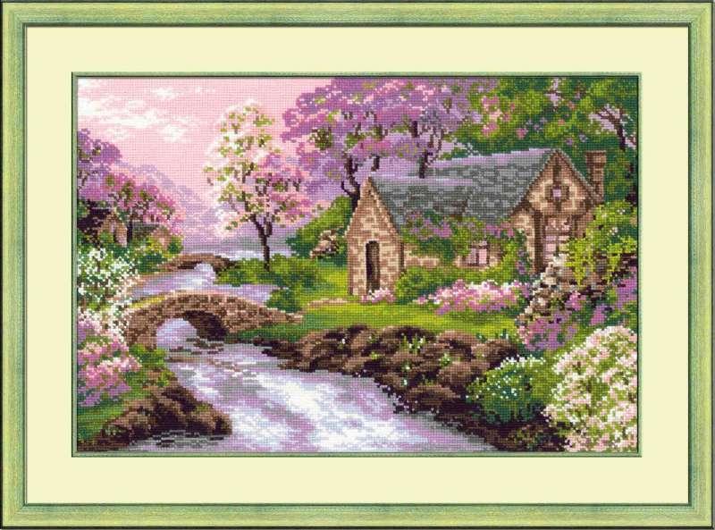 Вышивка пейзажа весны