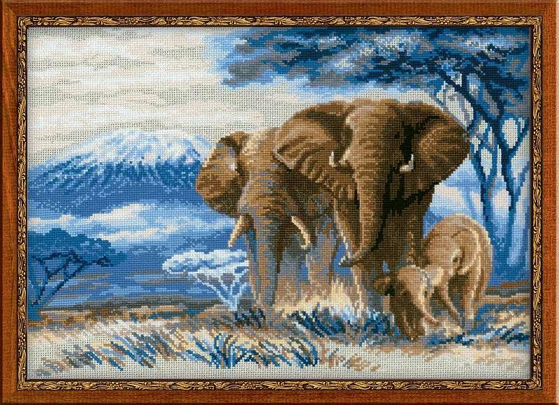 набор для вышивания крестом слоны в саванне