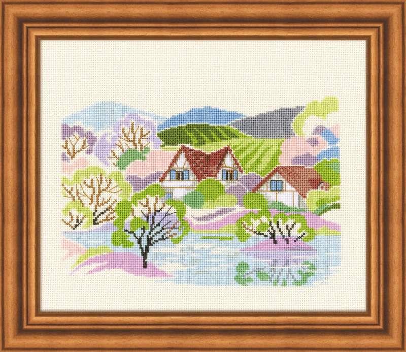 вышивка весеннего пейзажа