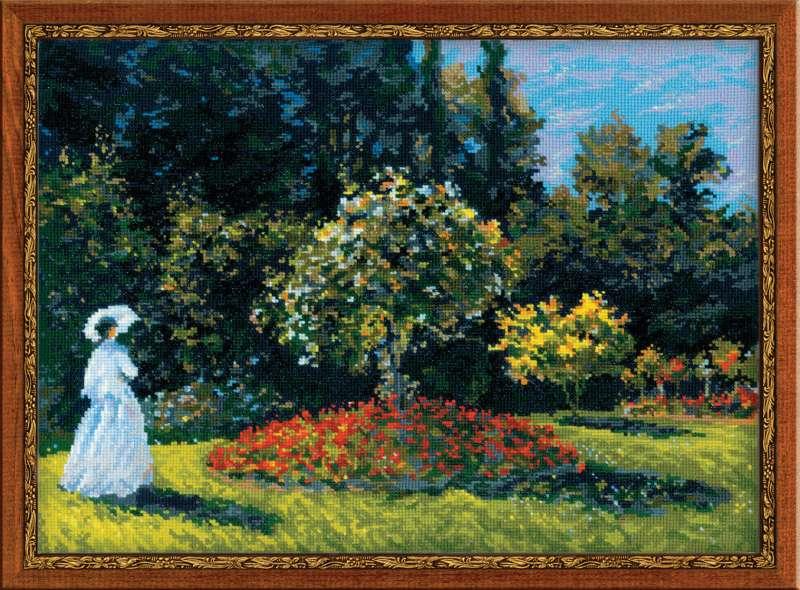 Вышивка крестом Дама в саду Моне