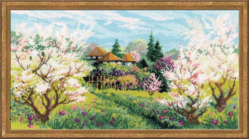 Вышивка пейзажей Яблоневый сад