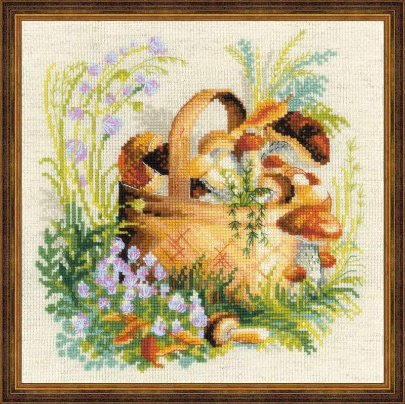набор для вышивания крестом грибное лукошко