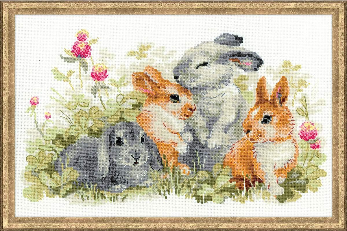 вышивка крестом Забавные крольчата