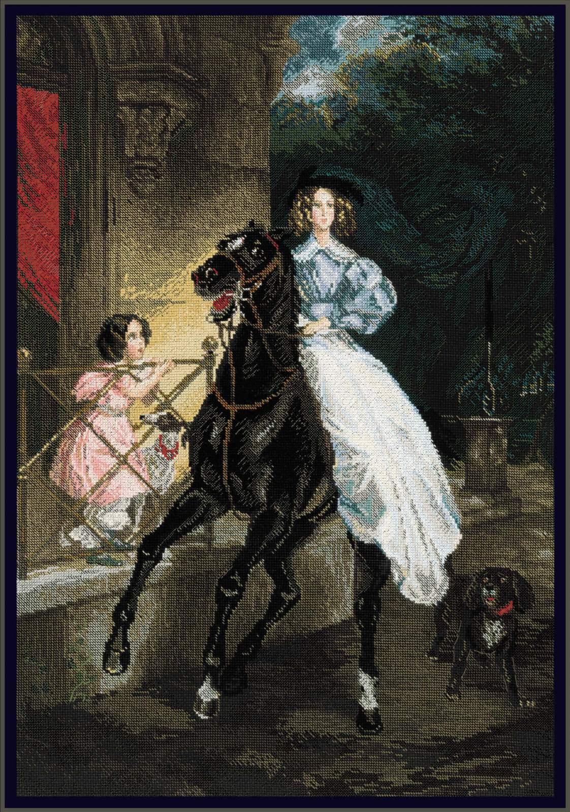 Картина вышивка всадница