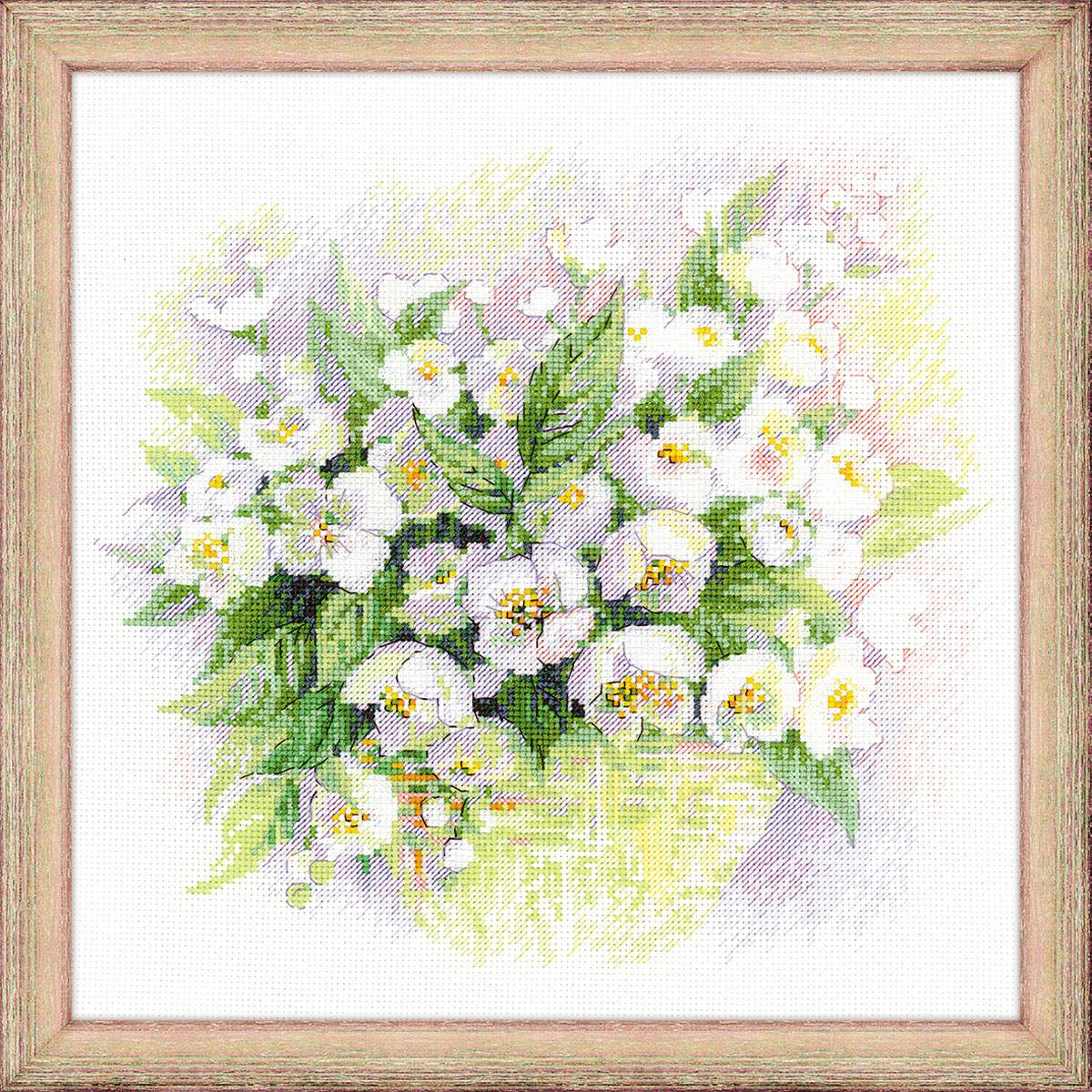 вышивка цветов жасмина