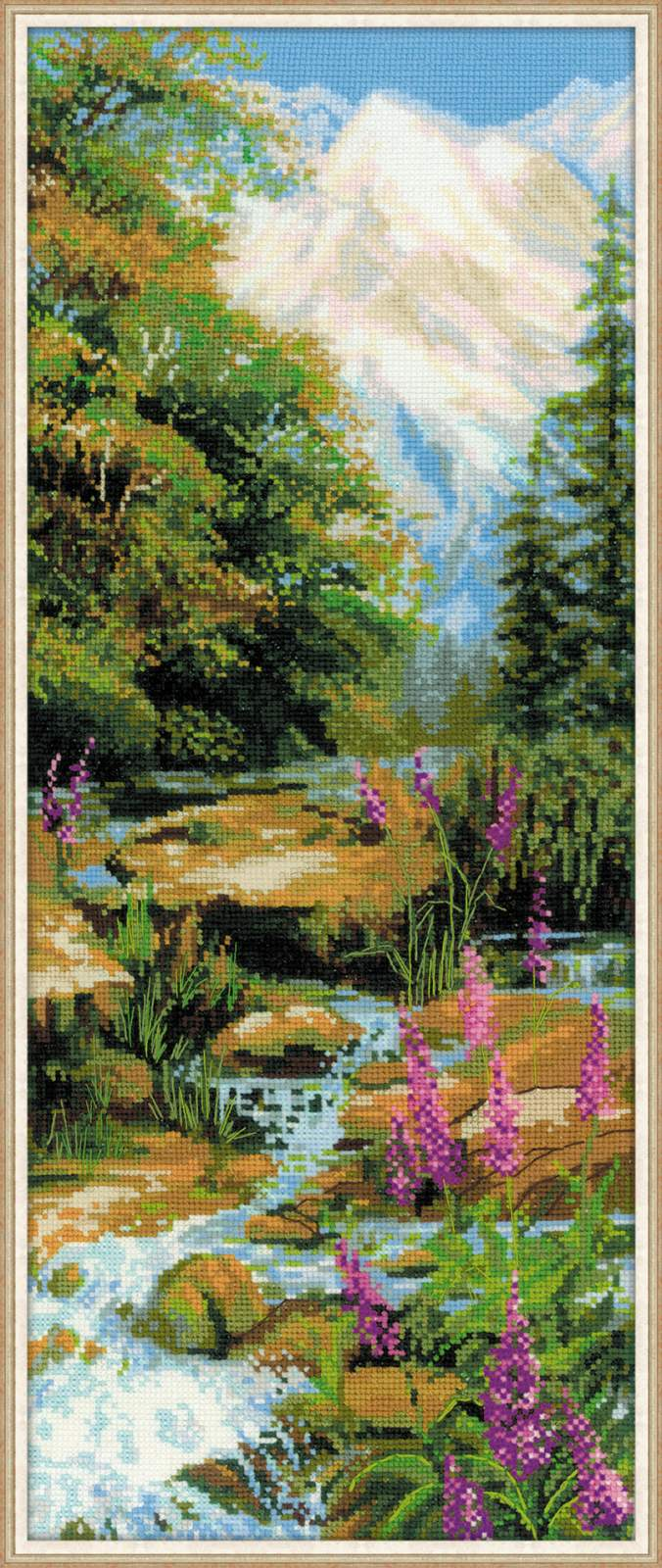 Вышивка горный ручей риолис