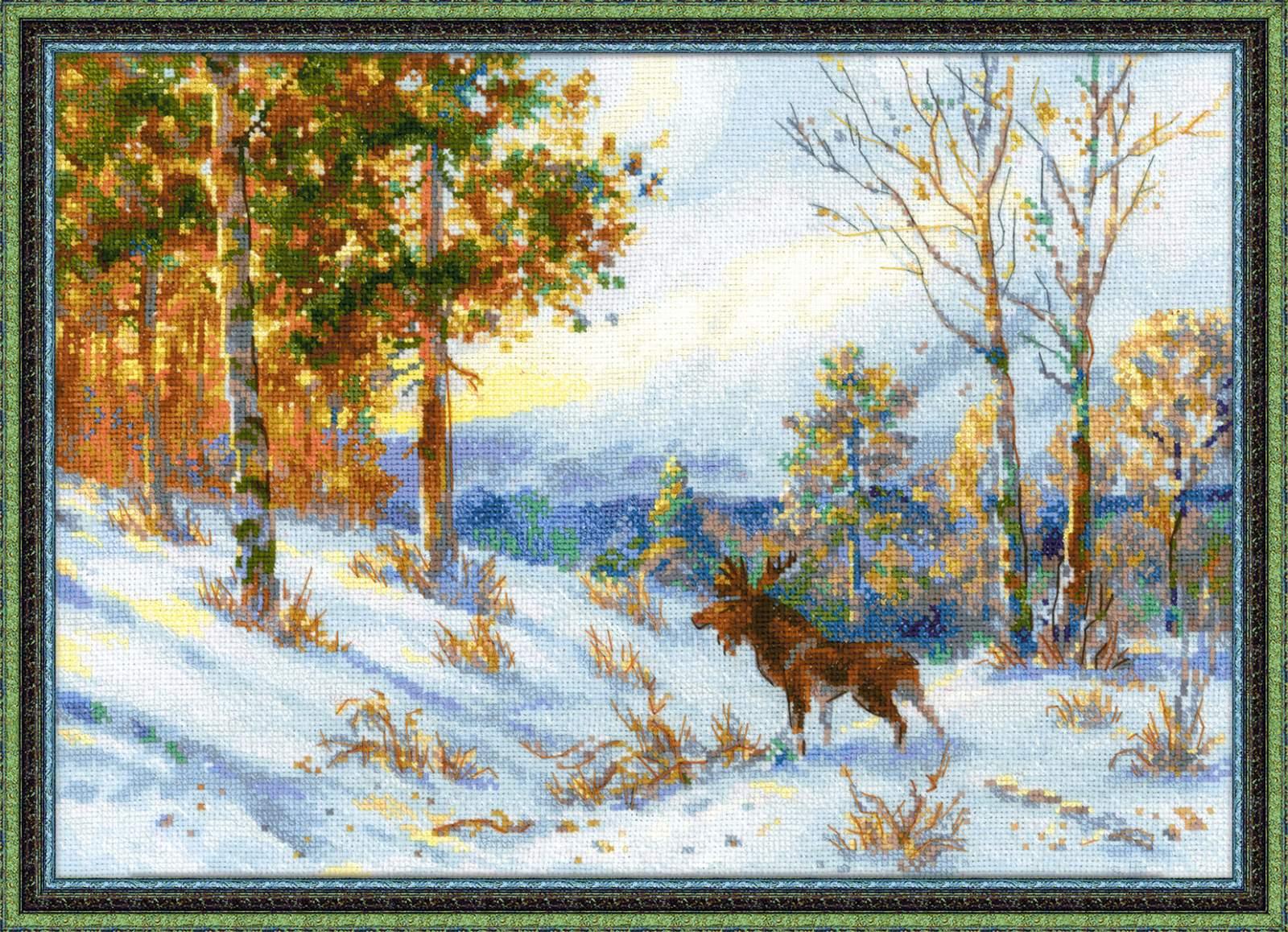 вышивка по мотивам картины лось в зимнем лесу