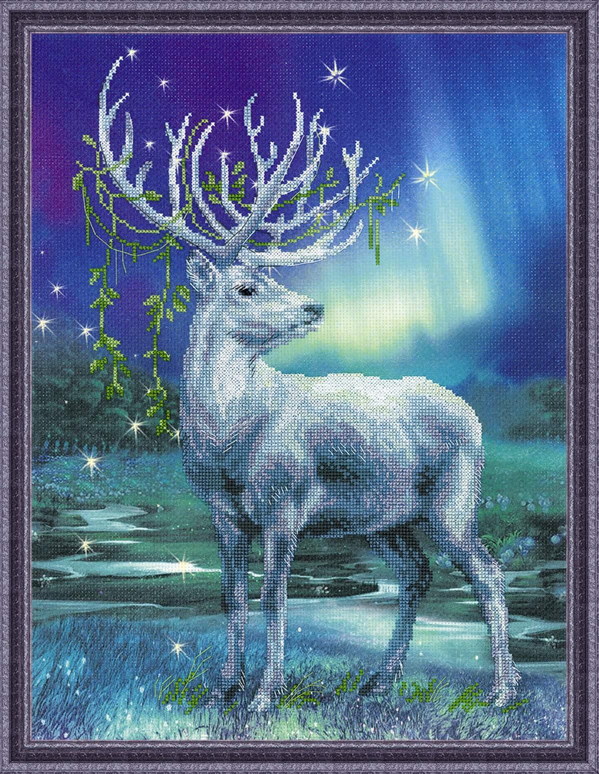 набор для вышивания крестом северный олень