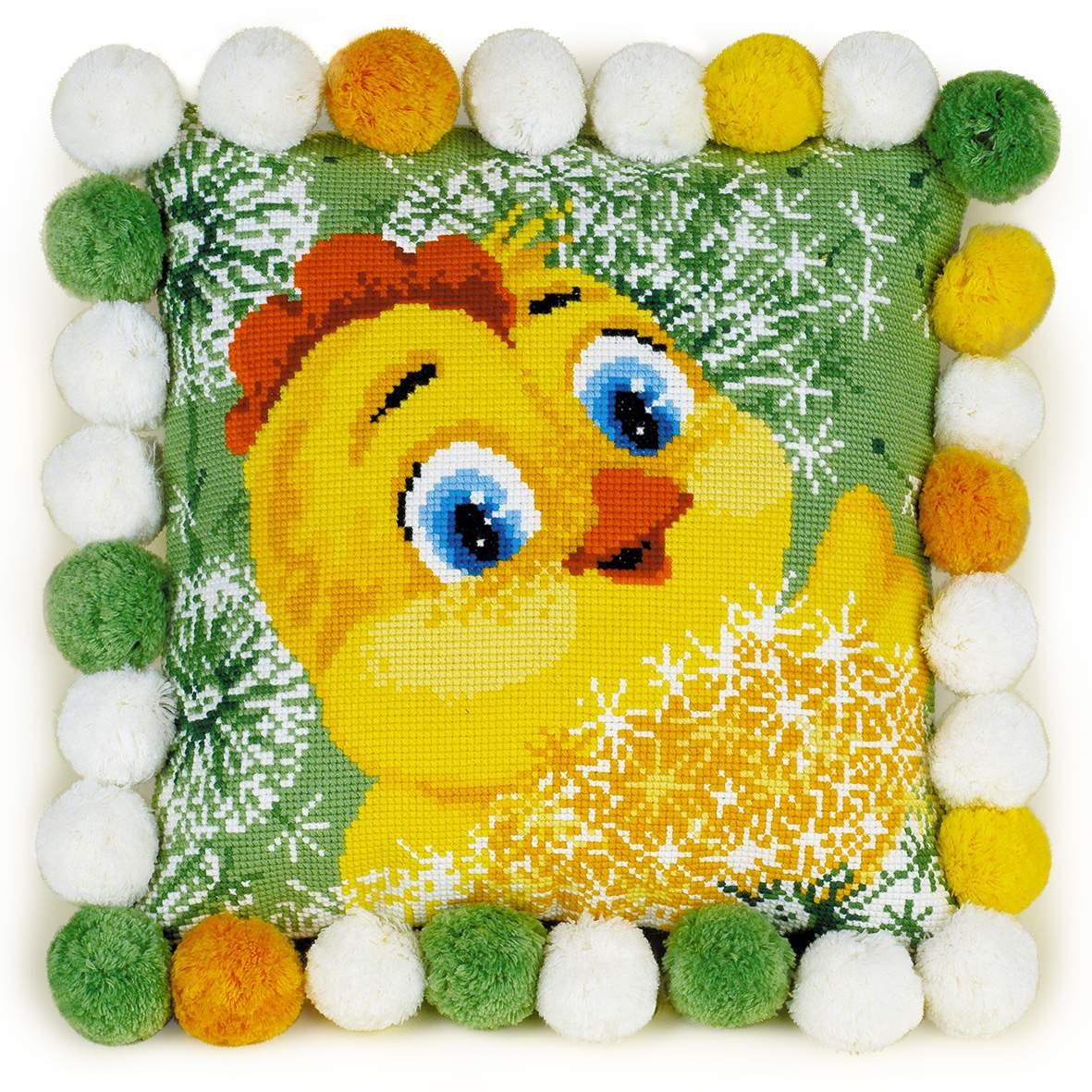 набор для вышивания подушки цыпленок