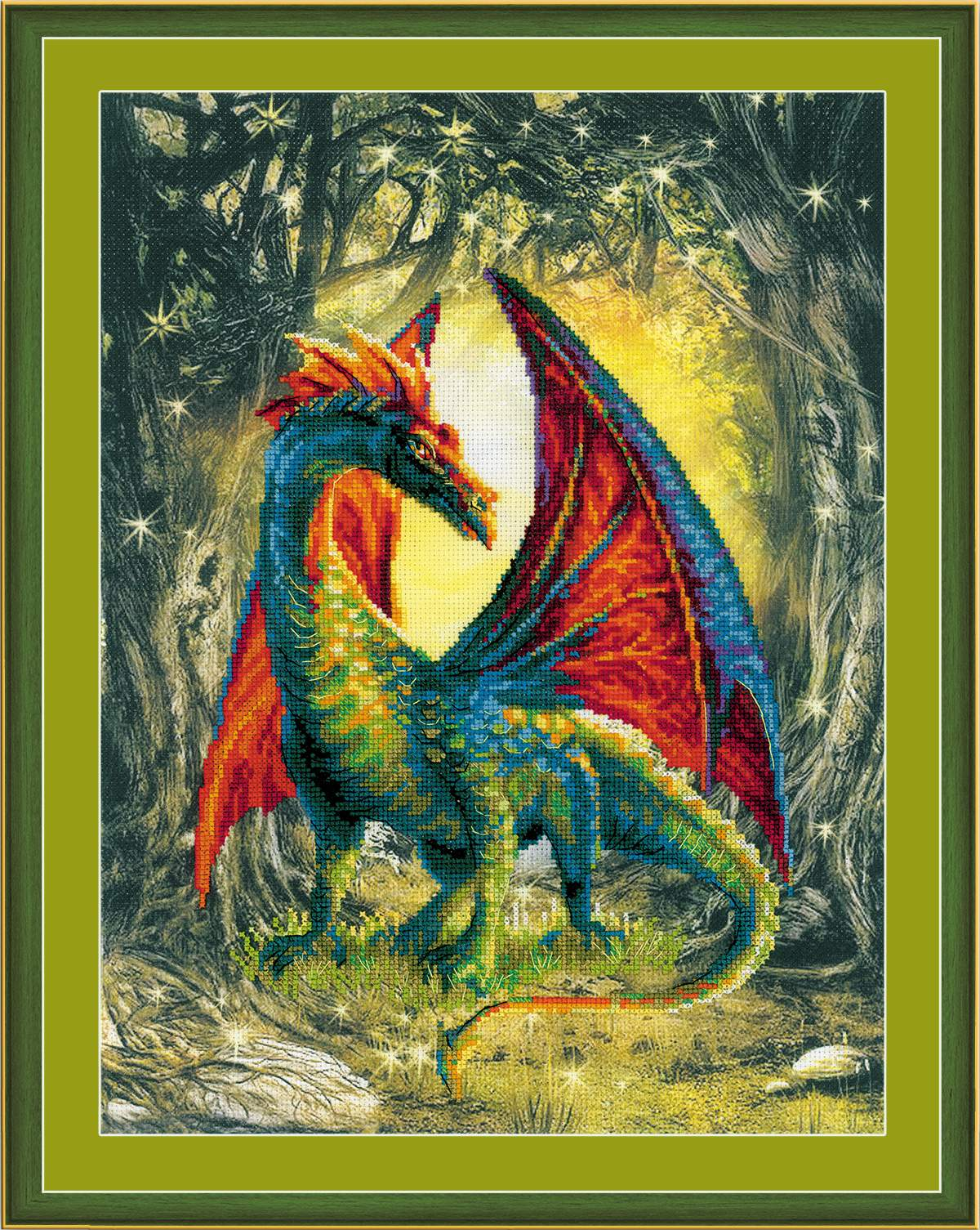 вышивка лесной дракон