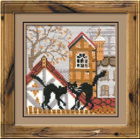 набор для вышивки шерстью город и кошки осень